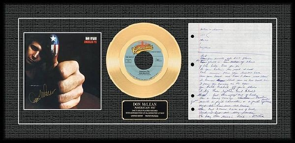 """DON MCLEAN """"American Pie"""" Gold Record"""