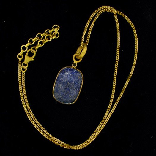 APP:18k 28CT 24kt Gold overlay Sapphire Pendant w/chain