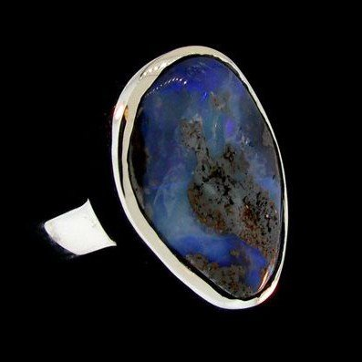 APP: 17.5k 13.48CT Boulder Opal & Sterling Silver Ring