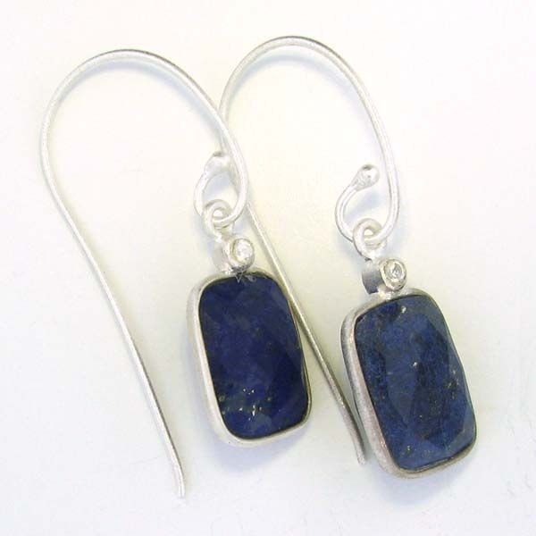 APP: 10k 17CT Blue Sapphire & Sterling Silver Earrings