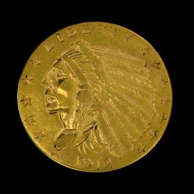 1912 U.S. Gold Indian Head $2.50 Coin - Investment