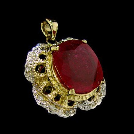 APP: 11.3k 14 kt. Gold, 9.06CT Ruby & Diamond Pendant
