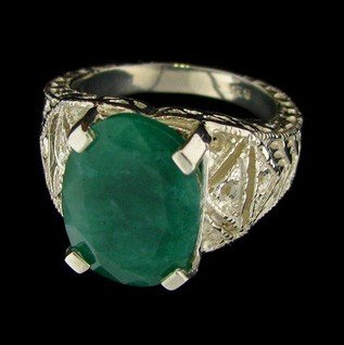 APP: 6.1k 4.46CT Emerald & Sterling Silver Ring