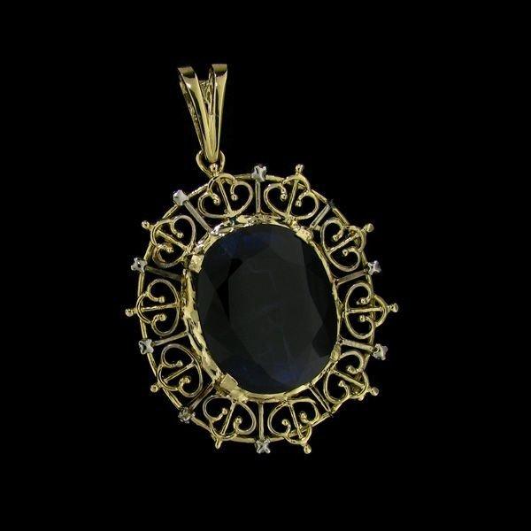 APP: 38.5k 32.61CT 14 kt. Gold, Sapphire Pendant