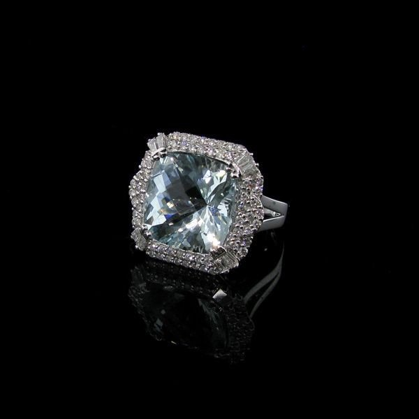 APP: 45k 18kt White Gold 12CT Aquamarine & Diamond Ring