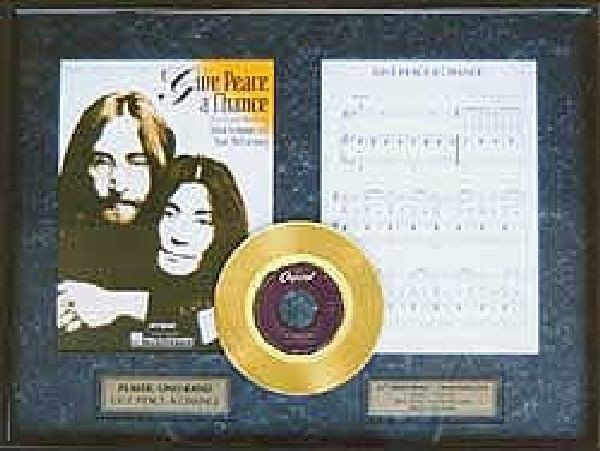"""JOHN LENNON """"Give Peace a Chance"""" Gold Record w/Music"""