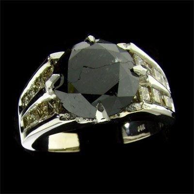 APP: 17k 14 kt. White Gold, 6CT Rare Black Diamond Ring