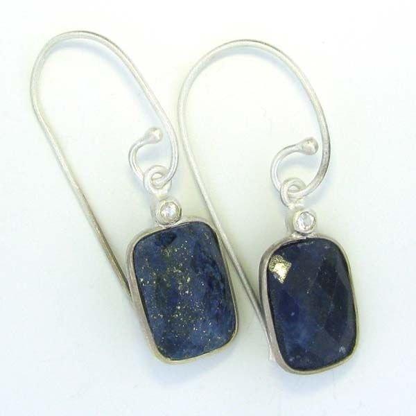APP: 9k 14.95CTBlue Sapphire & Sterling Silver Earrings