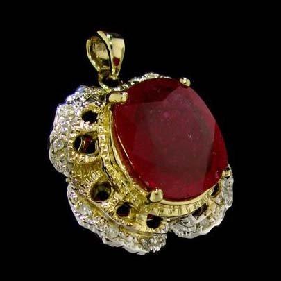 APP: 11.3k 14 kt. Gold, 9.06CT Ruby & Diamond Pendant