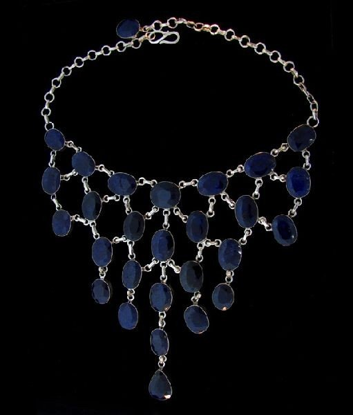 APP: 252k 307.70CT Sapphire & Sterling Silver Necklace