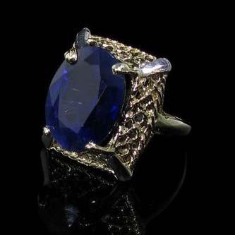 APP: 27.5k 13.57CT 14 kt. Gold, Blue Sapphire Ring