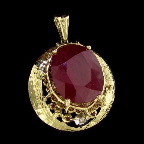 APP: 91.6k 14 kt. Gold, 74.59CT Ruby & Diamond Pendant