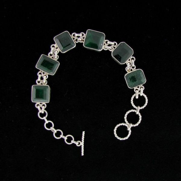 APP: 27.6k 38.59CT Emerald & Sterling Silver Bracelet