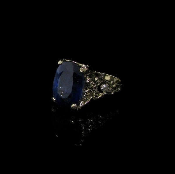 APP: 27k 12CT 14 kt. Gold, Blue Sapphire & Diamond Ring