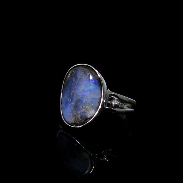 APP: 13.5k 4.24CT Boulder Opal & Sterling Silver Ring
