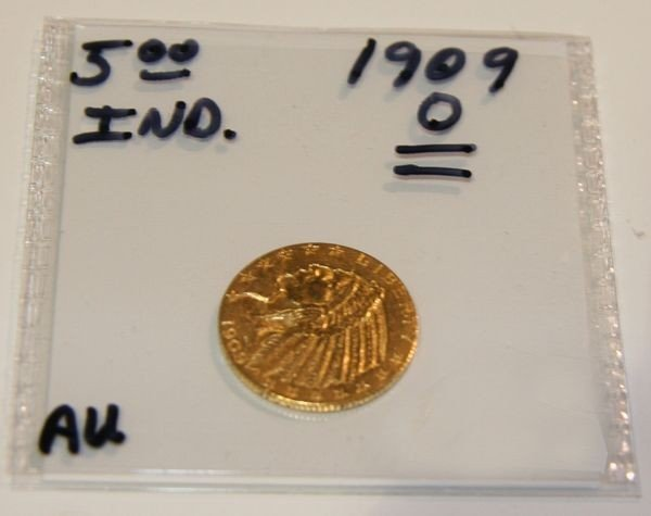 1909 $5 Indian Head Gold Coin - Investment