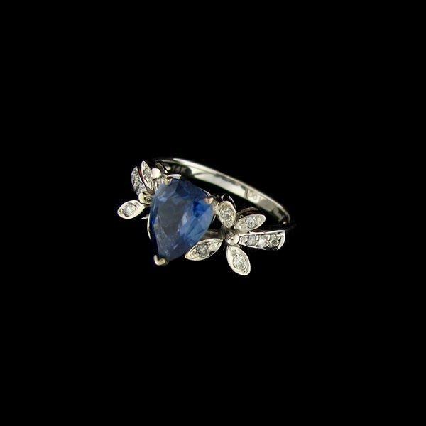 APP: 16k 14kt White Gold, 2CT Sapphire & Diamond Ring