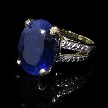 APP: 22.8k 13.88CT 14 kt. Gold, Blue Sapphire Ring