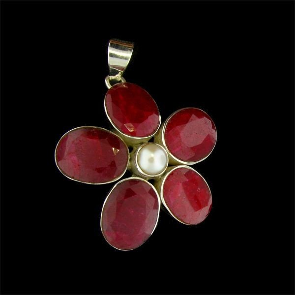 APP: 42k 31.80CT Ruby, Pearl, & Sterling Silver Pendant