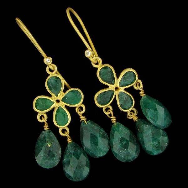 APP: 9k 24 kt Gold 17CT Emerald & Sterl Silver Earrings