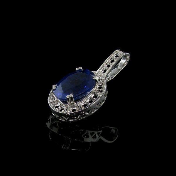 APP: 10k 12CT Blue Sapphire & Sterling Silver Pendant