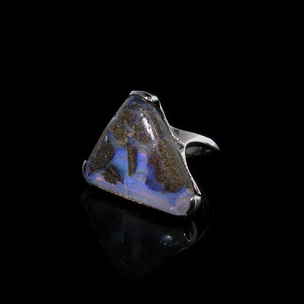 APP: 10.4k 21.80CT Boulder Opal & Sterling Silver Ring