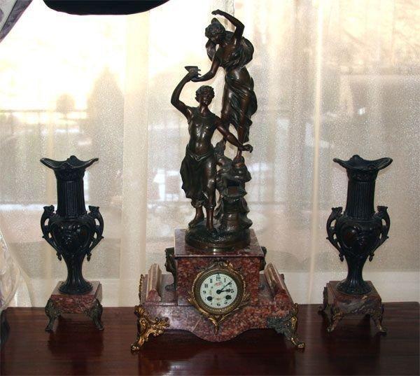 Rare 3pc. French Clock Set - Good Original Condition