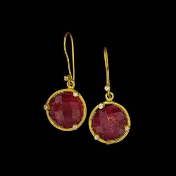 APP: 13k 24kt Gold 23CT Ruby & Sterling Silver Earrings