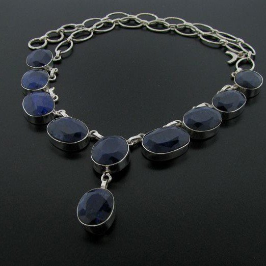APP: 31k 96CT Blue Sapphire & Sterling Silver Necklace
