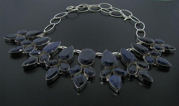 APP: 125k 396CT Sapphire & Sterling Silver Necklace