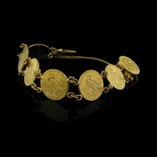 1925 $ 2.5 U.S. Indian Head Gold (6 Coin Bracelet)