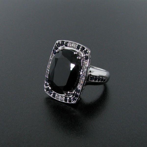 APP: 17k Platinum Silver 19CT Sapphire & Diamond Ring