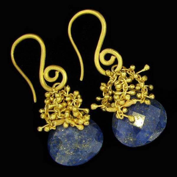 APP: 12k 24 kt Gold  23CT Sapphire & Silver Earrings