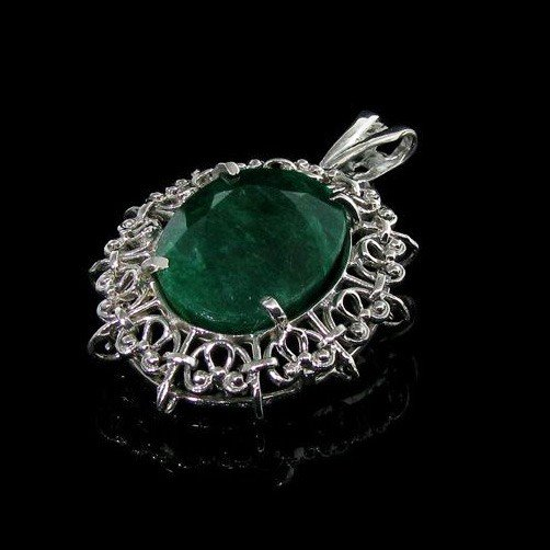 APP: 14.3k 20.88CT Emerald & Sterling Silver Pendant