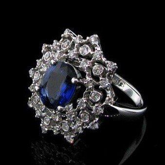 APP: 21k 18kt W Gold 1CT Blue Sapphire & Diamond Ring