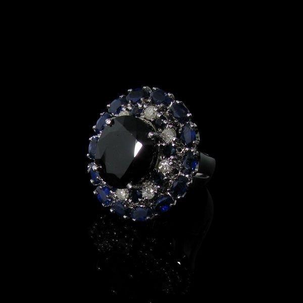 APP: 39k 14kt  Silver 18CT Blue Sapphire & Diamond Ring