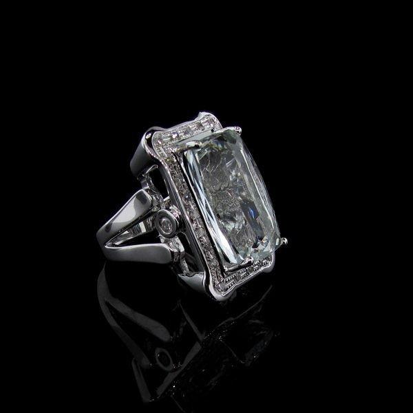 APP: 29k Platinum Silver 17CT Emerald & Diamond Ring