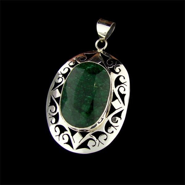 APP: 24.4k 26.21CT Emerald & Sterling Silver Pendant