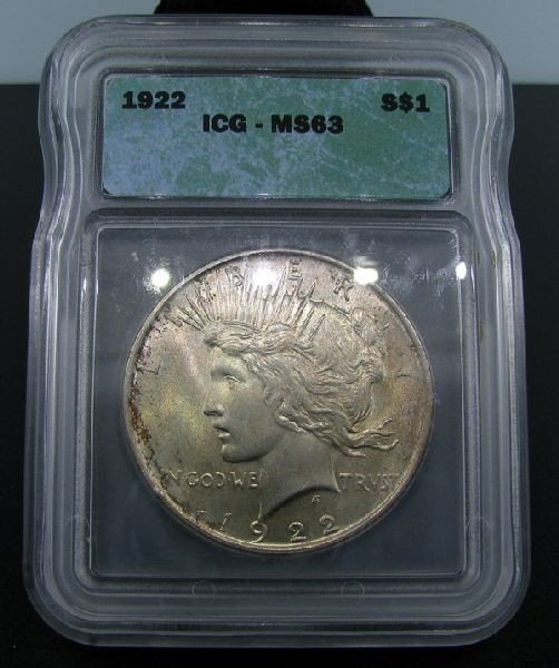 1922 $1 Peace Silver Dollar Coin - Investment