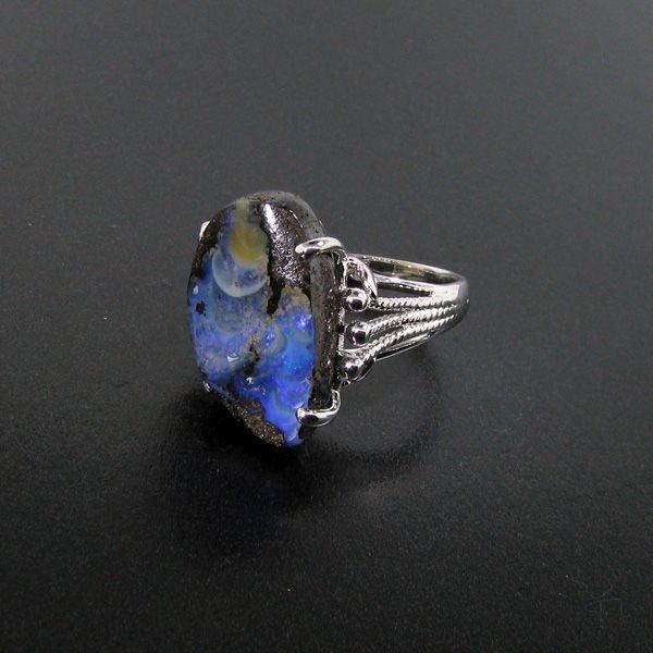 APP: 10.5k 14.18CT Boulder Opal & Sterling Silver Ring