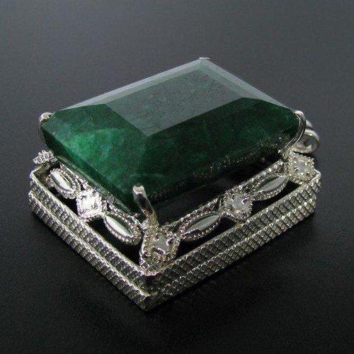 APP: 30.3k 177.59CT Emerald & Sterling Silver Pendant