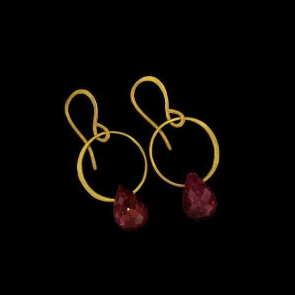 APP: 12k 24kt Gold 23CT Ruby & Sterling Silver Earrings