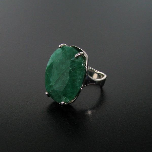 APP: 15.3k 28.72CT Emerald & Sterling Silver Ring