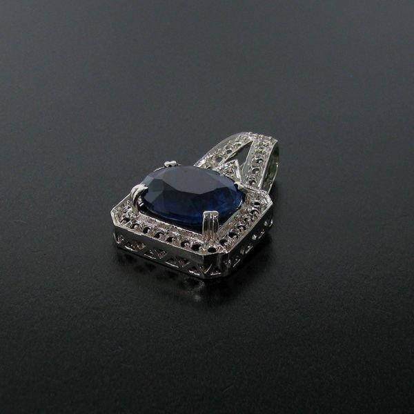 APP: 14k 16CT Blue Sapphire & Sterling Silver Pendant