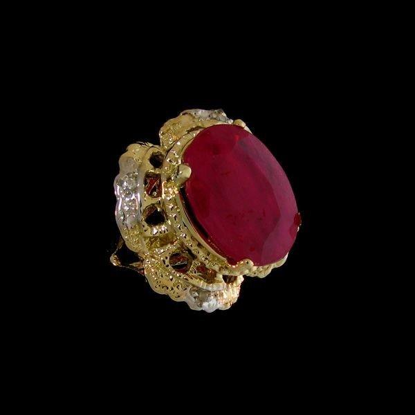 APP: 18.3k 12.60CT 14 kt. Gold, Ruby & Diamond Ring