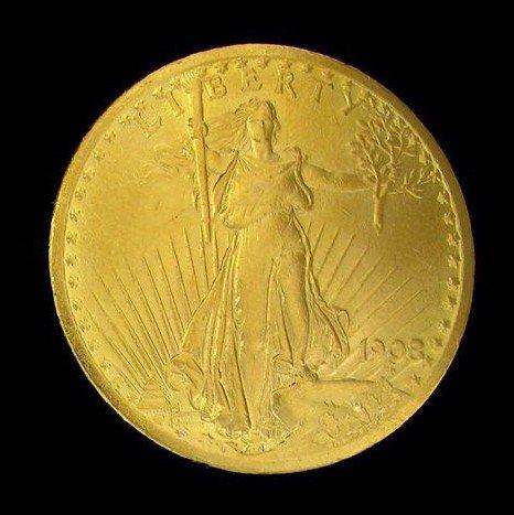 1908 $20 U.S. Saint-Gaudens Gold Coin - Investment