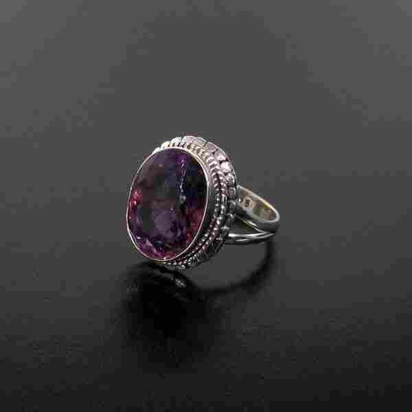 Amethyst & Sterling Silver Ring