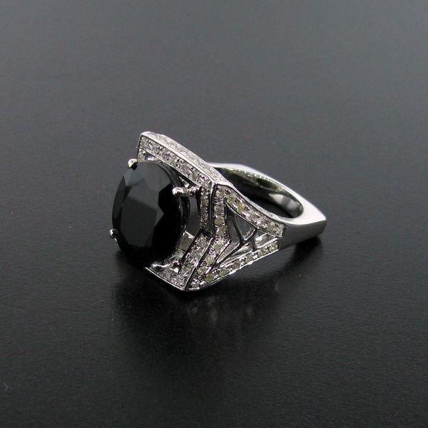 APP: 14k 13CT Sapphire & Diamond 18 kt.Silver Ring