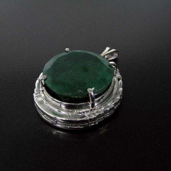 APP: 19.6k 86.64CT Emerald & Sterling Silver Pendant
