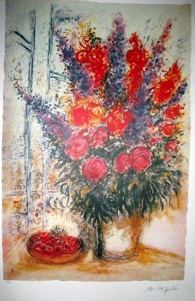 MARC CHAGALL Bouquet w/Bowl of Cherries Print, Ltd Edn